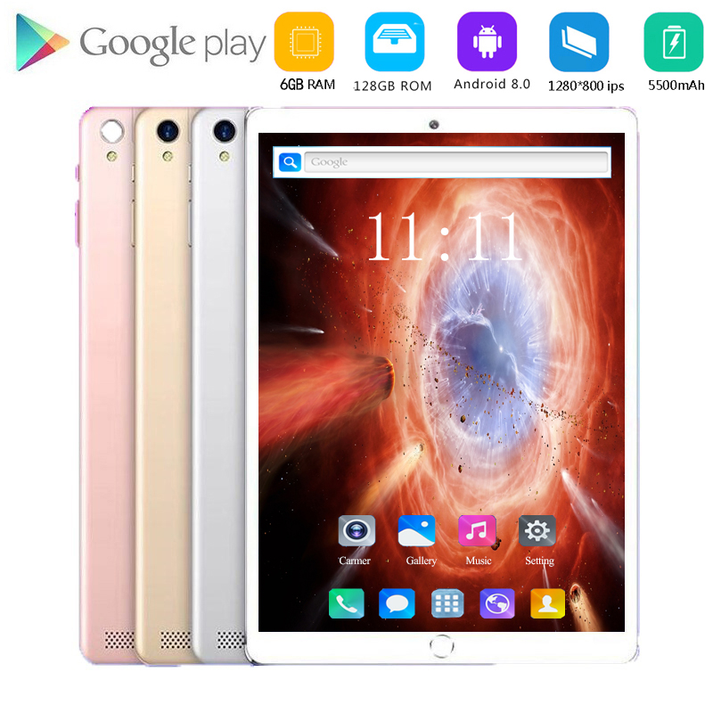10 Inch Tablet Pc Octa Core 4G LTE Tablet 6GB RAM 128GB ROM 1920x1200 FHD Screen Dual Cameras Android 8.0 Kids Tablets 10.1 9 8