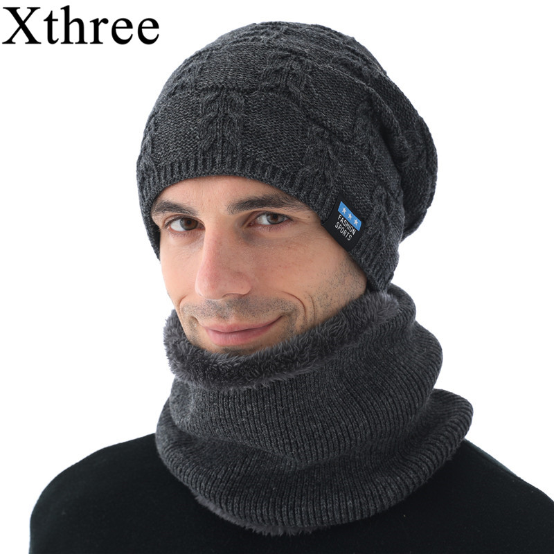 Knitted Hat Xthree Scarf Beanies-Hats Gorras-Bonnet Wool with Men Lining Male Winter