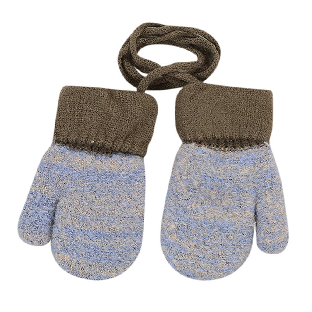Дети Мальчики Девочки Зима милый твердый, подвесной шею теплые вязаные перчатки дети милые перчатки теплые полный палец перчатки зима - Цвет: Серый