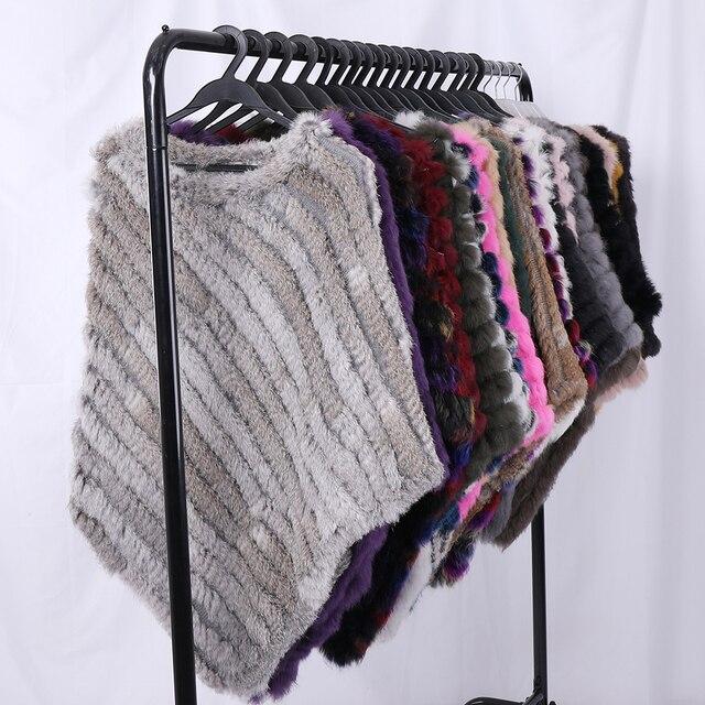 Fau Rabbit Fur Shawl Natural Real Knitted Poncho 4