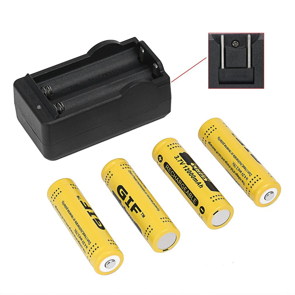 4pcs <font><b>3.7V</b></font> 12000mAh Rechargeable Li-ion <font><b>Battery</b></font> + US Plug Charger Discharge Rate Safe and Environmental Friendly image