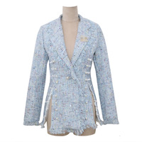 2019 Jacket suit collar tweed fringed long sleeve pearl button decorative coat