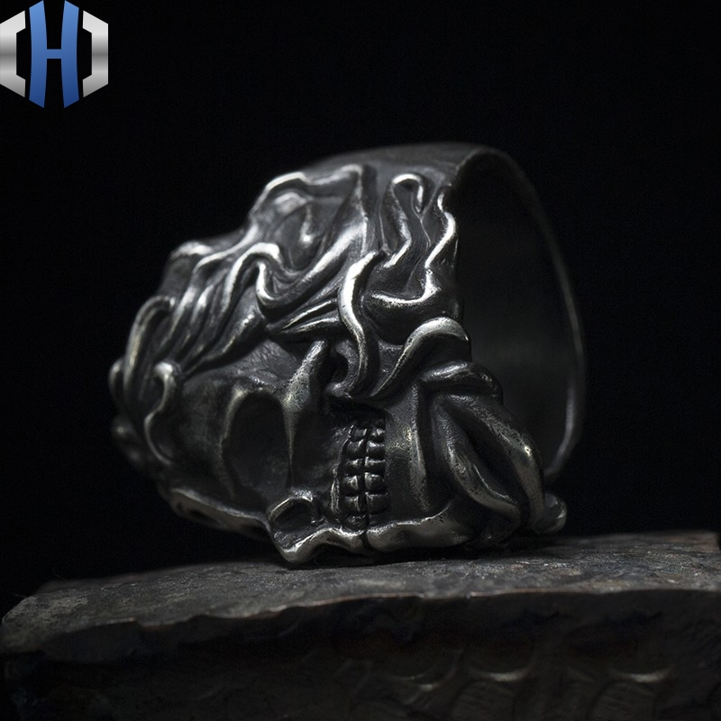 Original Design Handmade Silver Yin And Yang Face 925 Silver Punk Skull Ring Men And Women in Rings from Jewelry Accessories