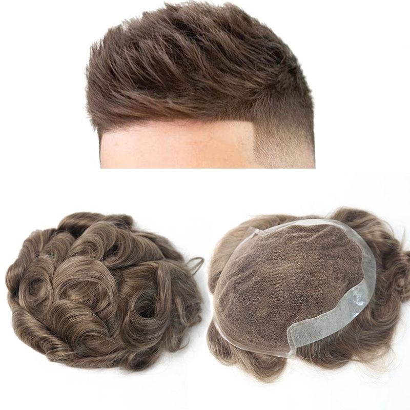 Натуральные волосы для мужчин, 100% европейские натуральные волосы, парик из искусственной кожи, заменяющие мужские Т-системы, 17 # цвет VenVee remy