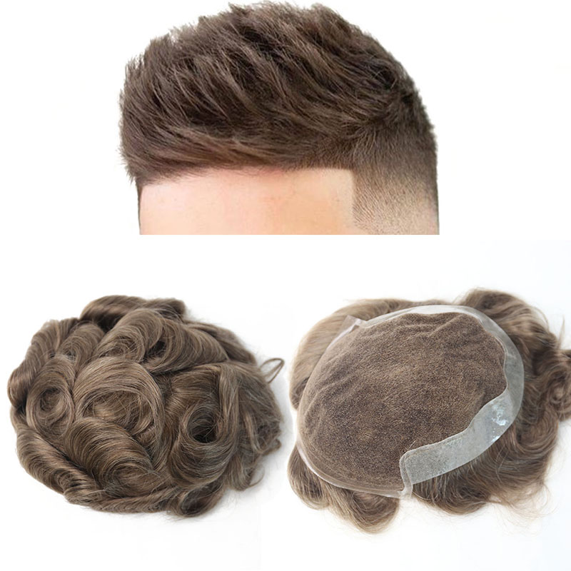 Natural Looking Hair Toupee For Men 100% European Human Hair Toupee PU Replacement System 17# Color VenVee Remy Hair