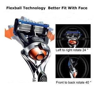 Image 3 - Gillette Fusion 5 golarka dla mężczyzn Proglide Flexball Power Safety Razors męska maszyna do golenia brody zasilany z baterii niski poziom hałasu