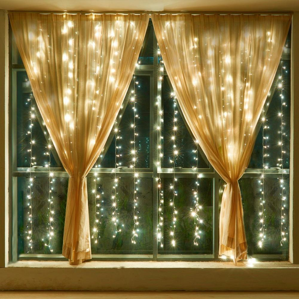 USB LED Curtain Light Fairy String Lights 8Mode 3X3M 3X1M 3X2M Fairy Garland For New Year Christmas Outdoor Wedding Home Decor 2