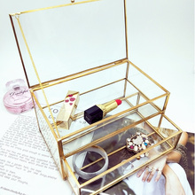 Caja de almacenamiento de cosméticos de vidrio Vintage organizador de cajones de escritorio a prueba de polvo de algodón hisopo caja de pañuelos de tocador estante de decoración soporte