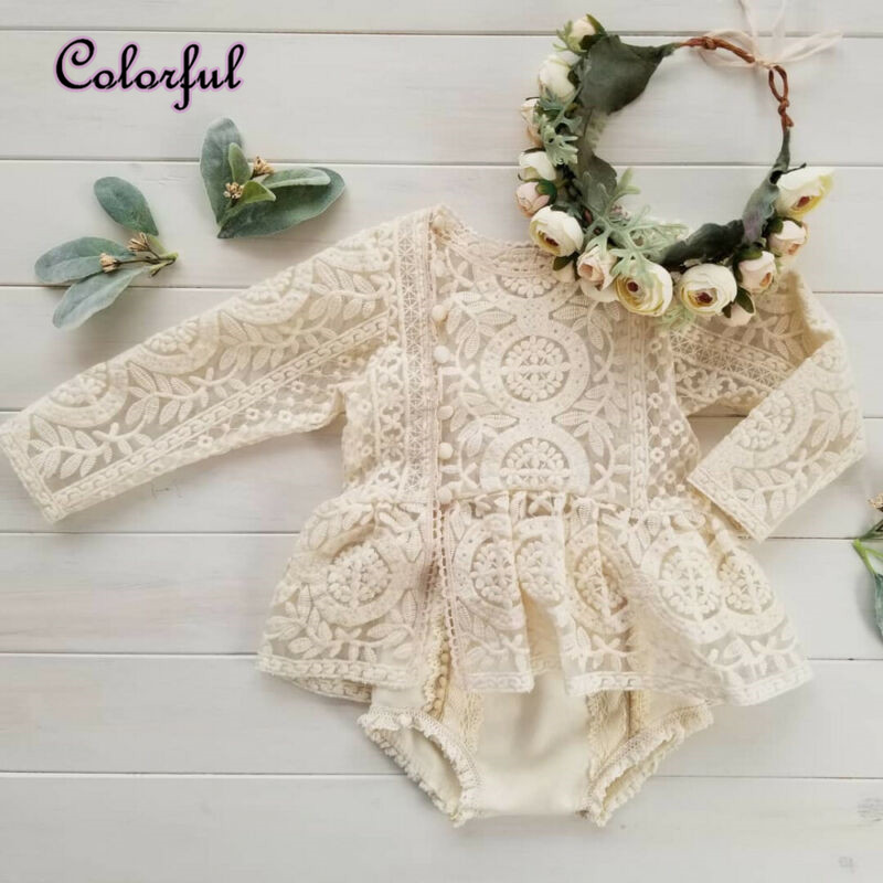 0-24 Months  Newborn Baby Girl Flower Clothes Long Sleeve Lace Romper Dress One-Pieces Outfit