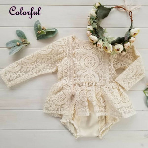 0-24 Months Newborn Baby Girl Flower Clothes Long Sleeve Lace Romper Dress One-Pieces Outfit(China)