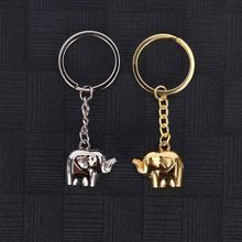 New Fashion Car Keychain Elephant Pendants DIY Women Men Jewelry Car Key Chain Ring Holder Souvenir for Gift(China)