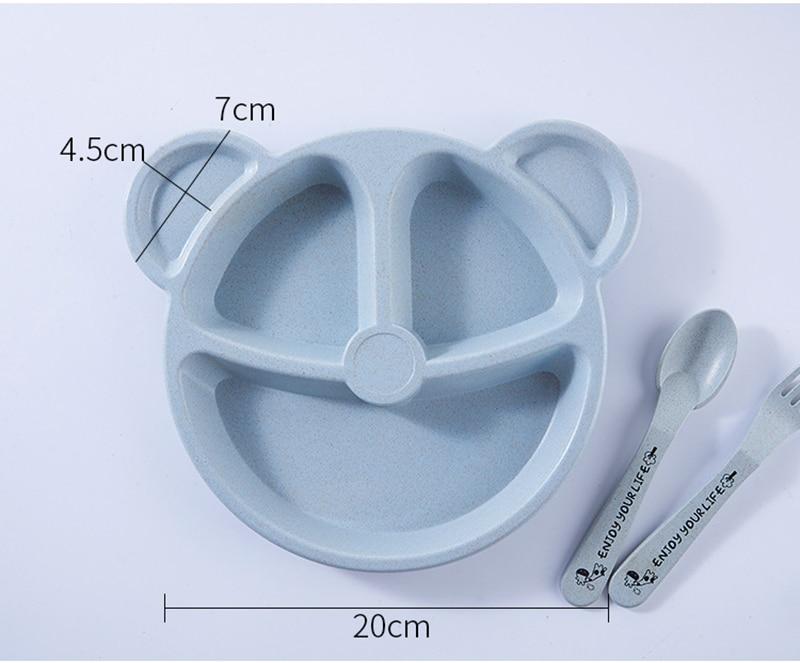 3 шт./компл. Детские чаша+ ложка+ Вилка питания Еда посуда Носки с рисунком медведя из мультика детская посуда, столовая посуда с защитой от перегрева тренировок с суповую тарелку, производство Китай
