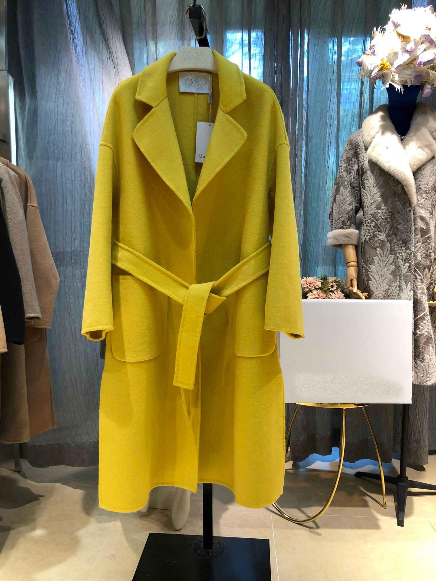 2019 neue Elegante Mode Original Qualität Vier Farben Schwarz & gelb & khaki & grün Lange Wolle Mantel Frauen mit gürtel