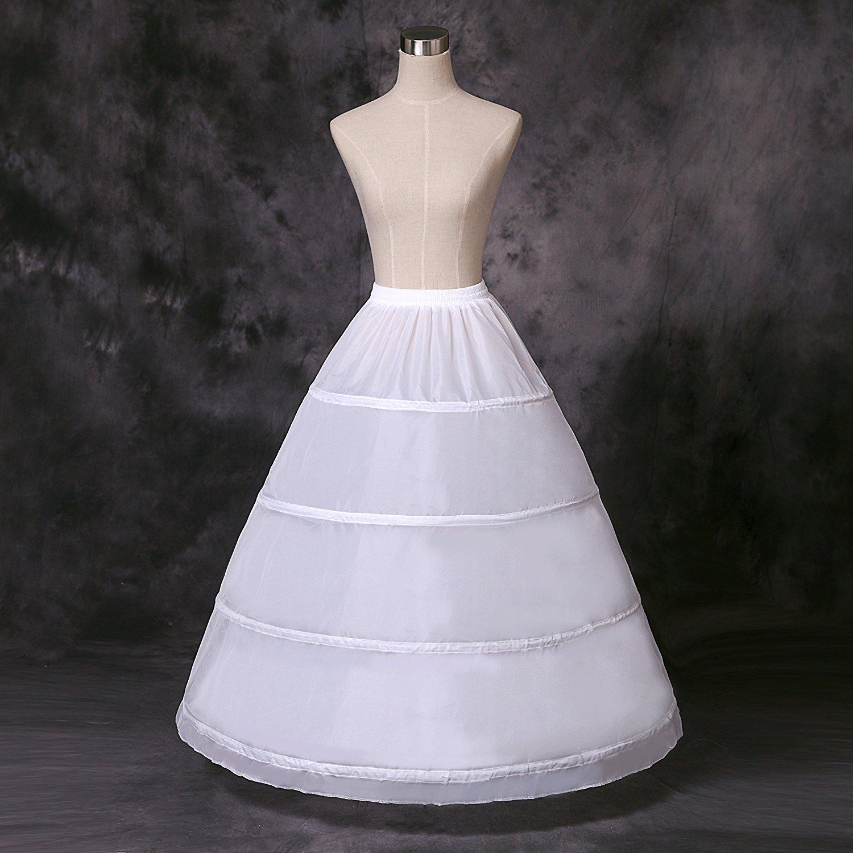 NIXUANYUAN Women's Full 4 Hoops Petticoats/Underskirt Wedding Slips Free Size