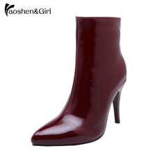 Купить с кэшбэком Haoshen&Girl Winter Women Ankle Boots Zipper High Heel 10cm Point Teo Shoes Woman Patent Leather Short Boots Plus Size 30-48