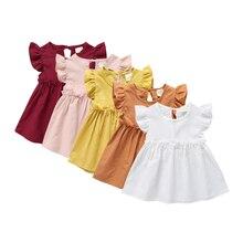 Летнее плетеное платье для маленьких девочек, однотонное милое платье для маленьких девочек 1-4 лет, 2021
