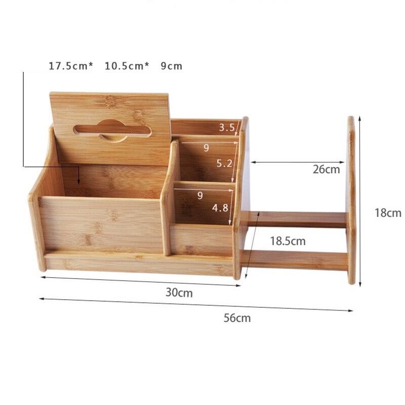 Boîte de rangement de bureau en bambou étagère rétractable bureau bureau papeterie télécommande Rack de rangement boîte à mouchoirs multifonction