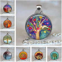 Chain Necklace Pendant Steampunk Jewelry Glass Cabochon Christmas-Gift Tree-Of-Life Silver-Color