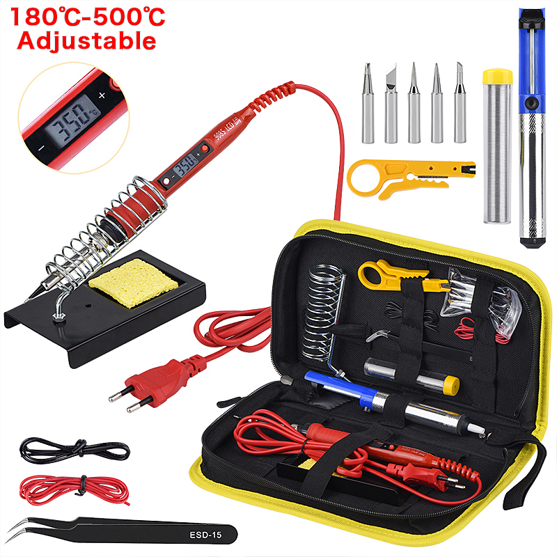JCD Electric Soldering Iron Kit 80W 220V LCD Temperature Adjustable Solder Iron Kit Welding Tool Set Soldering Tips Wires 908S