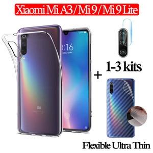 3-in-1 tylna folia z włókna węglowego Xiaomi Mi9Lite Mi A3 przezroczysty etui xiami mi9se miękki obiektyw szkło hartowane xiaomi 9 etui MiA 3 Xiomi Mi9 lite case