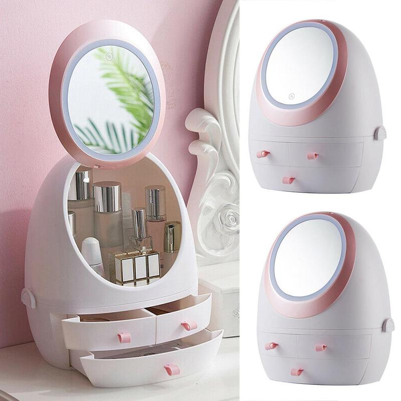 USB maquillage organisateur cosmétique boîte de rangement tiroir lumière LED miroir bureau Portable bijoux conteneur étanche à la poussière étanche