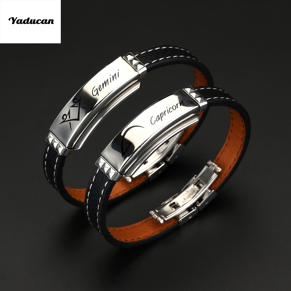 Yaducan 12 Constellations Bracelet 2019 Fashion Jewelry Black Leather Stainless Steel Men Casual Zodiac Signs Punk Bracelet