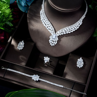 HIBRIDE New Charm Bridal Jewelry Set Wedding 4pcs Necklace Earrings Ring And Bracelet Engagement Party bijoux mariage N 924