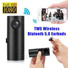 1080P FHD Mini Car DVR Camera Vehicle Dashcam Camcorder Digital Video Driving Recorder Wireless Earphones TWS Earbuds Bluetooth