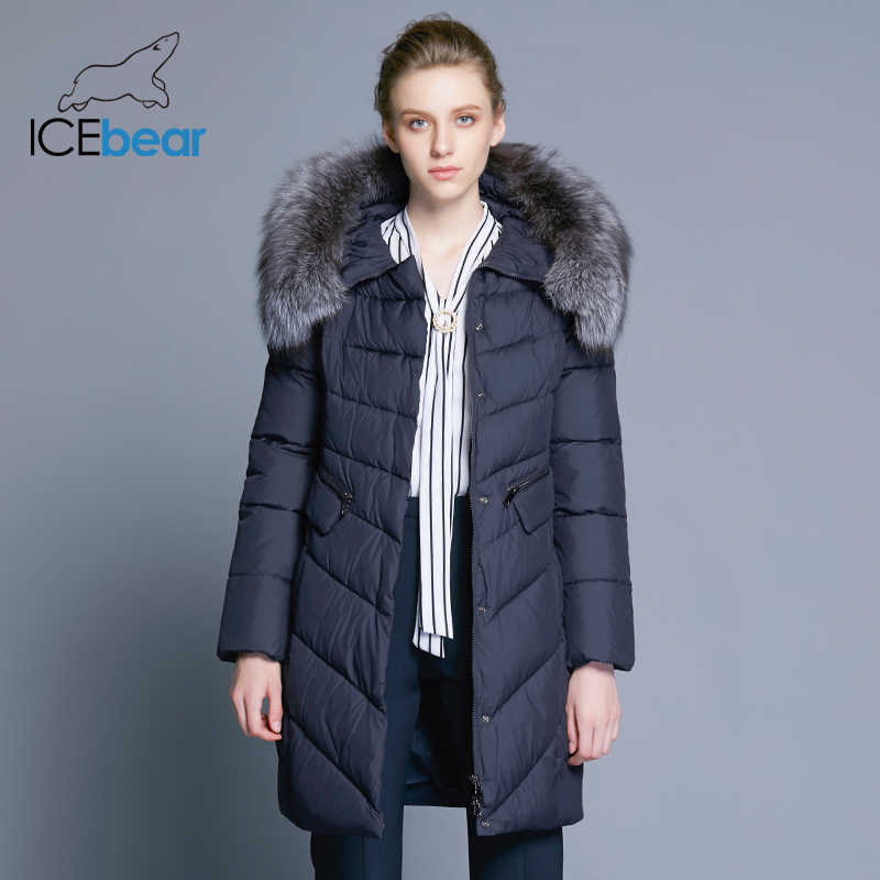 ICEbear 2019 Collar of Natural Fur Coat Women's Jacket parkas Bio-down Warm Thickening Cotton Padded Female Jacket Coat 17G6560D