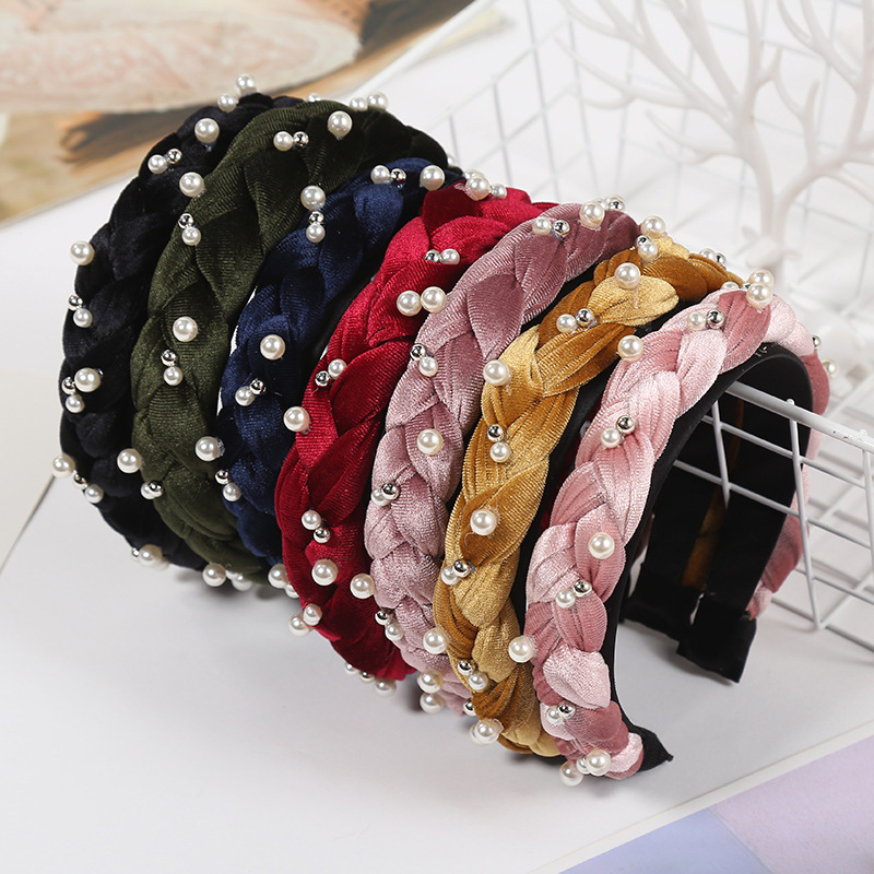 Hair Accessories Fashion Pearl Twist Women Lady Hairband Bezel for Hair Solid Knitted Hair Hoop Headwear Exquisite Headwrap