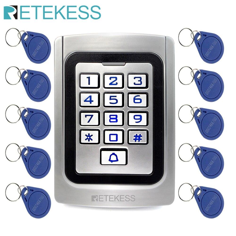 RETEKESS T-AC04 клавиатура система контроля допуска к двери IP68 водонепроницаемый металлический чехол силиконовый защитный считыватель входных д...