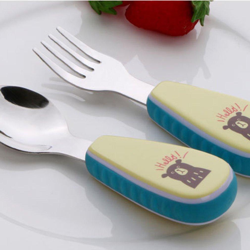 Stainless Steel Cutlery Flatware Baby Kids Fork and Spoon Set Cartoon Handle