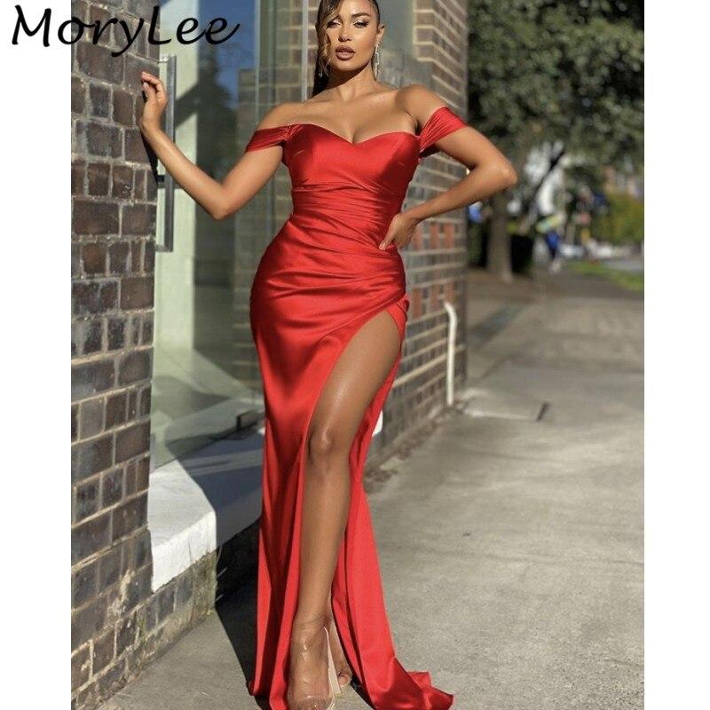 Prom Dresses Red Off The Shoulder Side Slit Silk Satin Mermaid Prom Dresses With Zipper Back vestidos de fiesta de noche