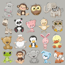 Clothing Patches Shirt Garment-Accessory Iron-On-Clothes Heat-Transfer Panda-Monkey Little