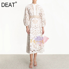 DEAT 2020 new spring and summer fashion women clothes turtleneck lantern sleeves belts lace hollow o
