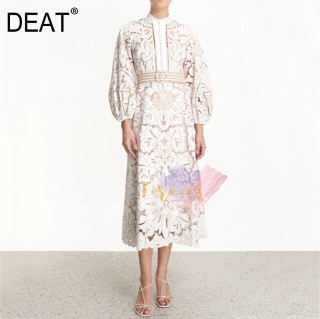 DEAT 2020 новая весенняя и летняя модная женская одежда водолазка с рукавами-фонариками ремни кружевное Открытое платье для отпуска WK16700L