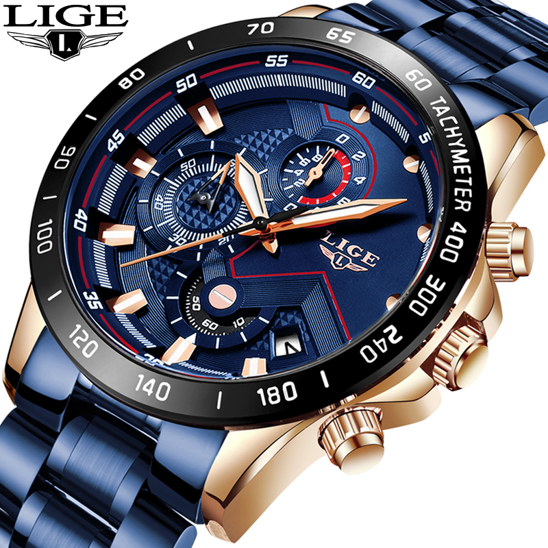 LIGE Fashion Business Blue Mens Watches Top Brand Luxury Clock Male Military All Steel Waterproof Quartz Watch Relogio Masculino