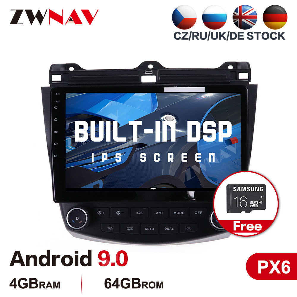 DSP PX6 4G+64G <font><b>Android</b></font> 9.0 Car multimedia Player For <font><b>Honda</b></font> <font><b>Accord</b></font> 2003-2007 car GPS navigation WIFI Auto stereo <font><b>radio</b></font> head unit image