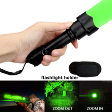 Green LED Light Tactical Flashlight Zoomable Spot Flood Light Torch Hunting Lamp, Outdoor Portable LED Torch Adjustable Focus