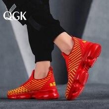 QGK 2019 Yeni Erkek rahat ayakkabılar hava yastığı spor ayakkabılar Erkekler Örgü Hafif Nefes Bahar Açık Sneakers Yaz koşu ayakkabıları