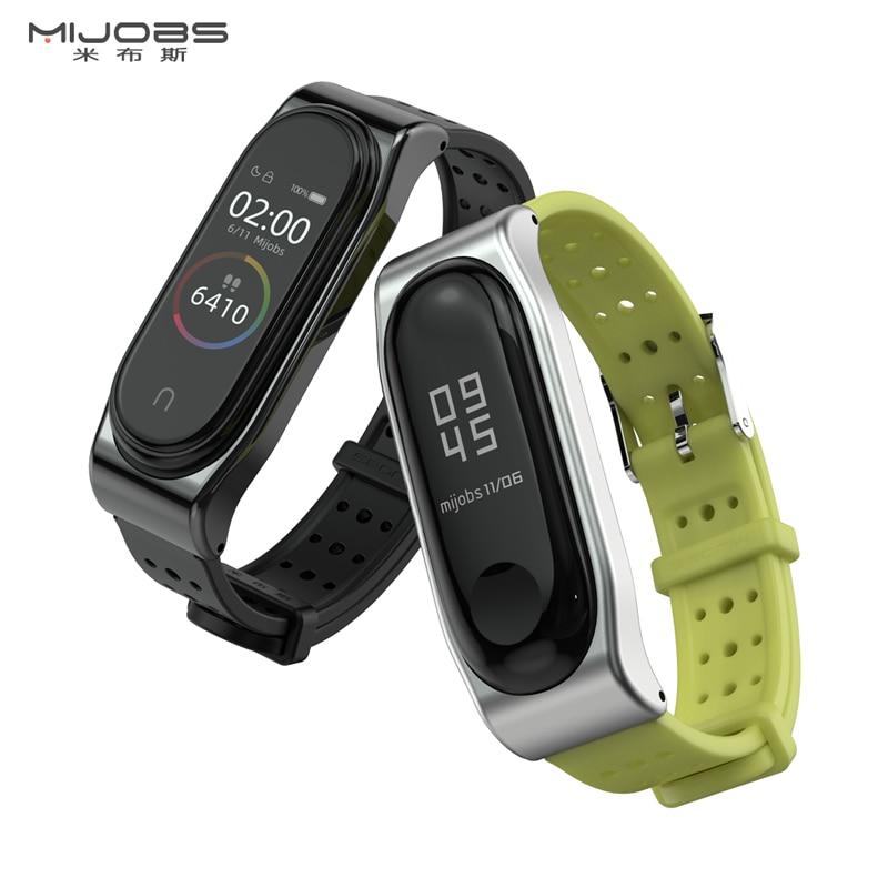 Mijobs Mi Band 3 4 Strap Bracelet for Xiaomi Mi Band 3 4 Smart Watch Silicone Wrist Strap Metal Miband 3 4 NFC Correa Wristbands(China)