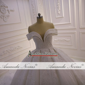 Image 3 - את כתף רצועות מלא תחרה ואגלי חתונת שמלת 2020 אמנדה novias