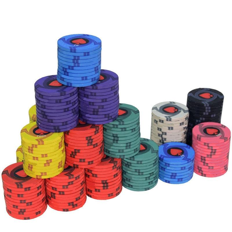 25pcs/Lot EPT Ceramic Texas Poker Chips Professional Casino European Poker Chips Set 39*3.3mm 10g