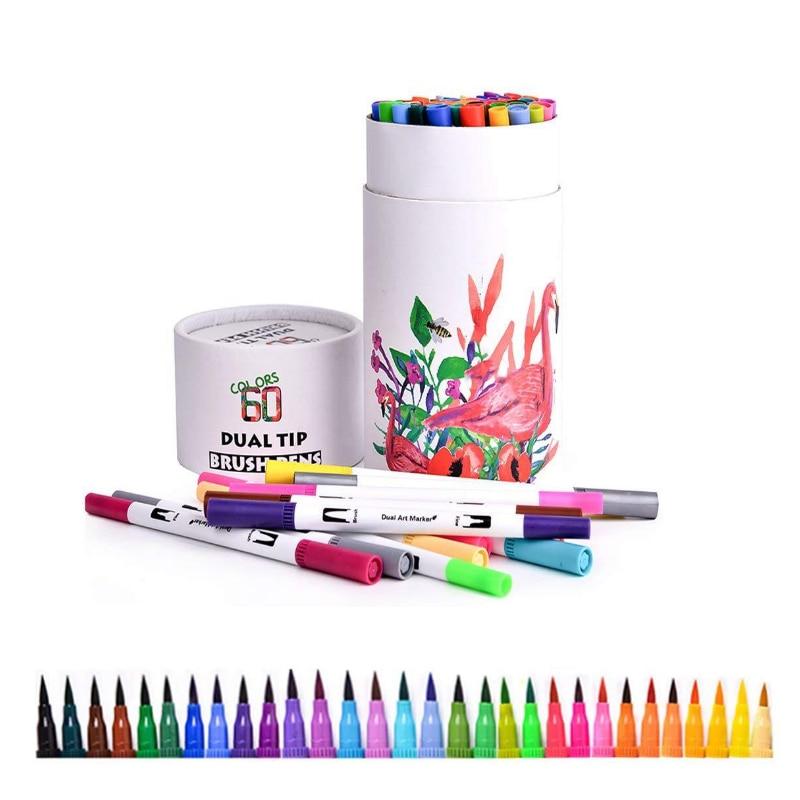 60PCS Colors Art Markers Drawing Painting  Pens Watercolor Dual Tip Brush Pen Calligraphy Sketching Coloring Book