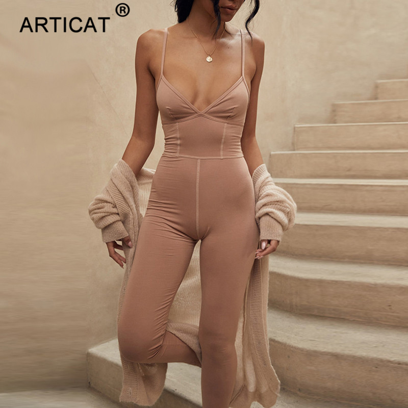 Articat Cotton Striped V Neck Sexy Jumpsuit Women Backless Bodycon Jumpsuits Rompers Female Long Playsuit Casual Party Overalls