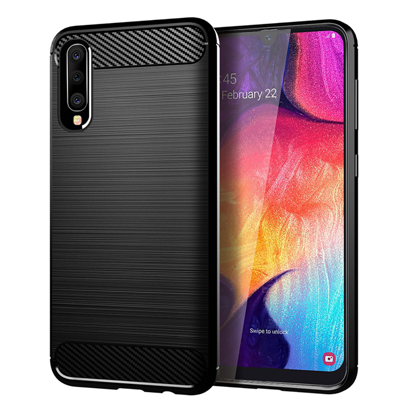 Silicone Case For Samsung Galaxy A70 Carbon Fiber ShockProof TPU Cover For Samsung Galaxy A70 SM-A705FN SM-A7050 A7 2019 Covers image