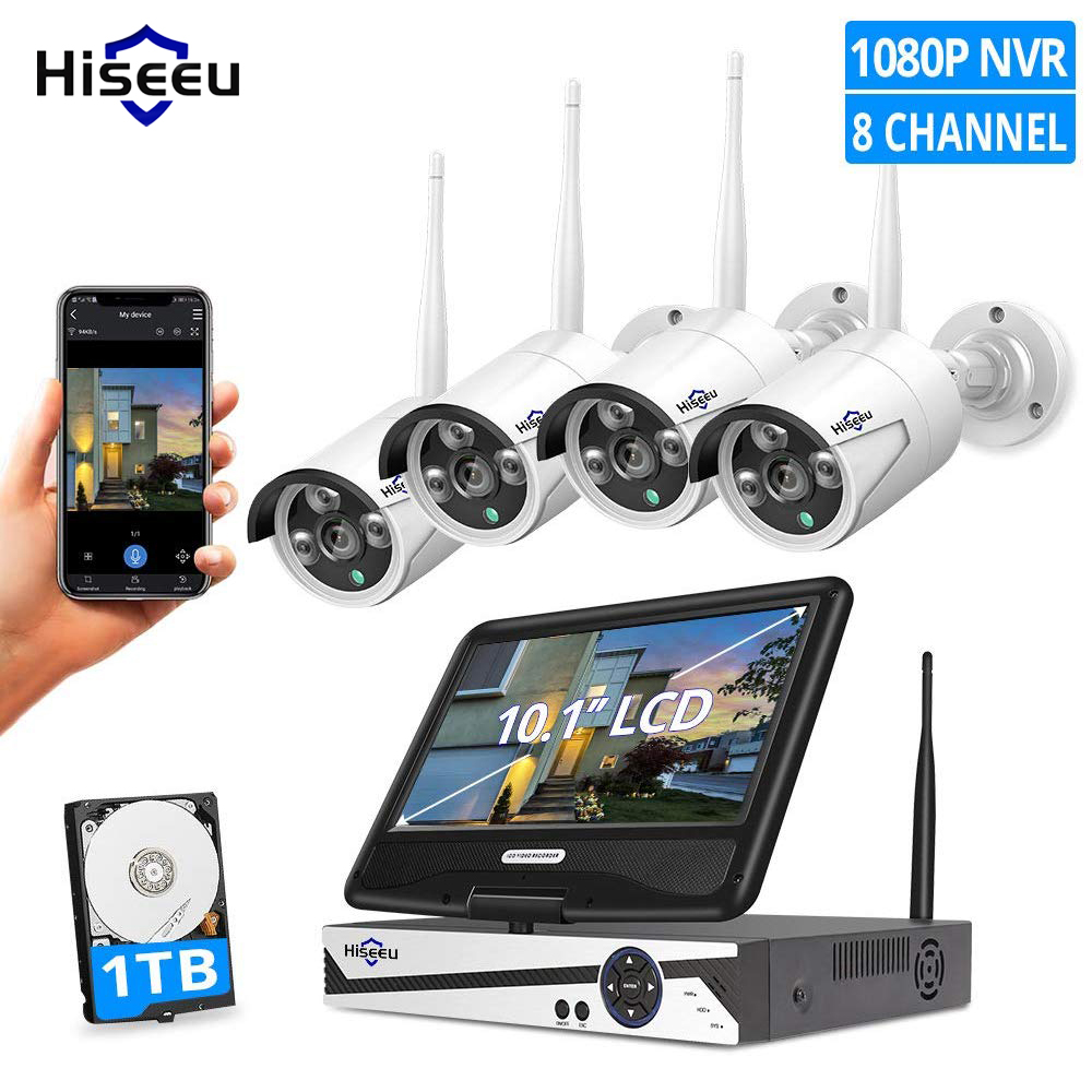 Hiseeu Wireless Security Camera System with 10.1inch Monitor