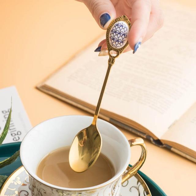 Фото высококачественная золотая кофейная ложка из нержавеющей стали