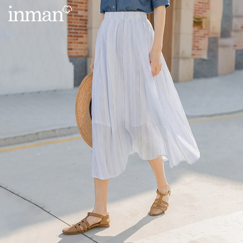 INMAN 2020 Summer New Arrival Elastic Waist Stripe Slimmed All-match Pure And Fresh Skirt