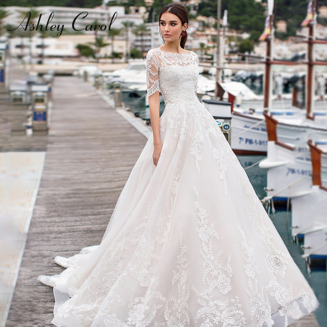 Ashley Carol A Line Wedding Dresses With Jacket 2020 Vestido De Noiva Beach Half Sleeve Appliques Lace Up Button Bridal Gowns